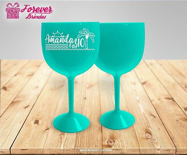 Taça De Gin Azul Tiffany Aniversário Na Praia