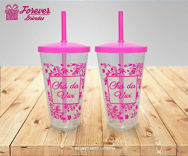 Copo Twister Com Tampa e Canudo Rosa Chá de Panela