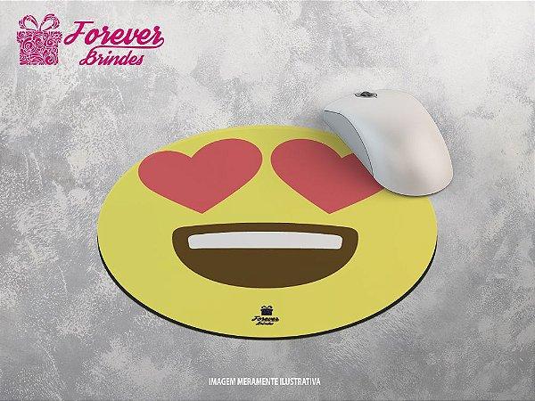 Mouse Pad Redondo Emoji Apaixonado