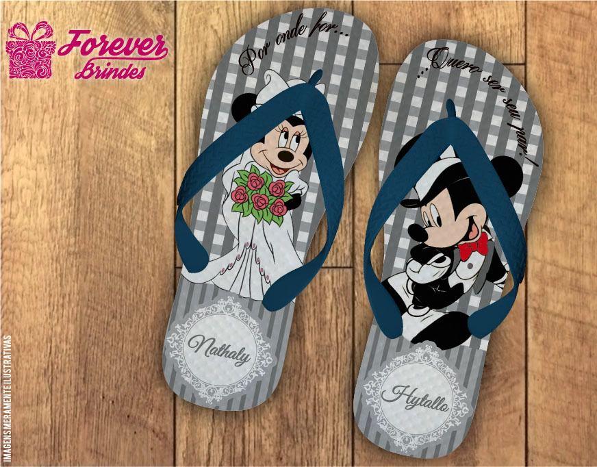Chinelo casamento Mickey e Minnie