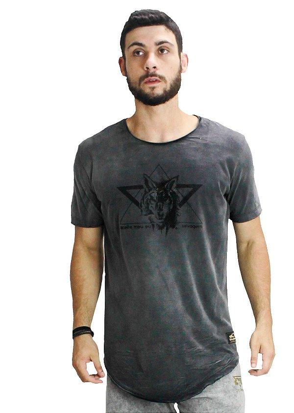 Camiseta Longline Chumbo Lobo