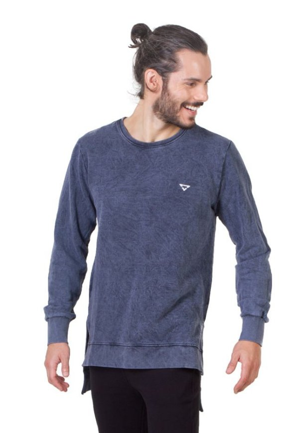 Blusa Longline Masculino Azul Jeans
