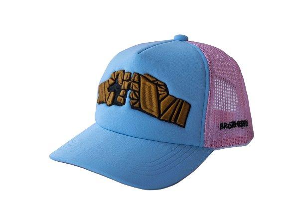Boné Trucker Candy Color azul tela rosa