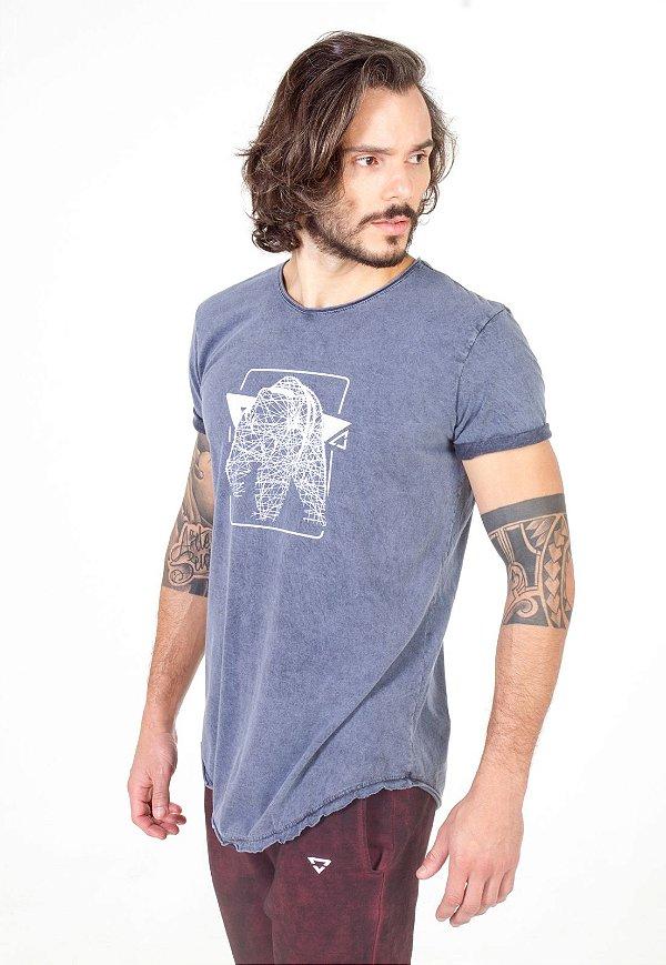 Camiseta Longline Curve Azul Denim Bear