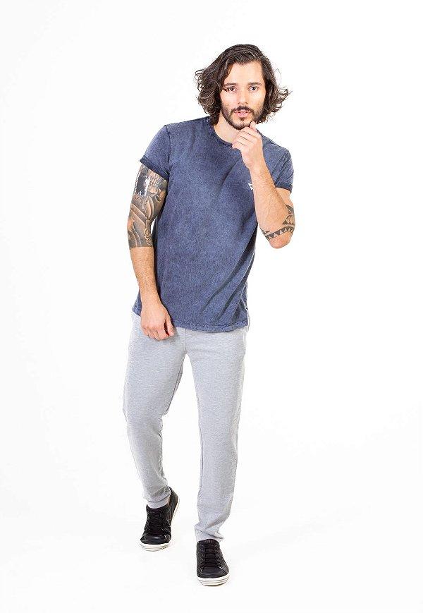Camiseta Azul Jeans Bordado