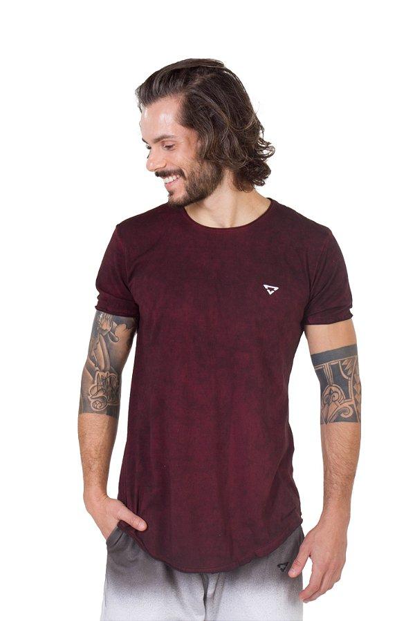 Camiseta Longline Curve Bordo Mix bordado
