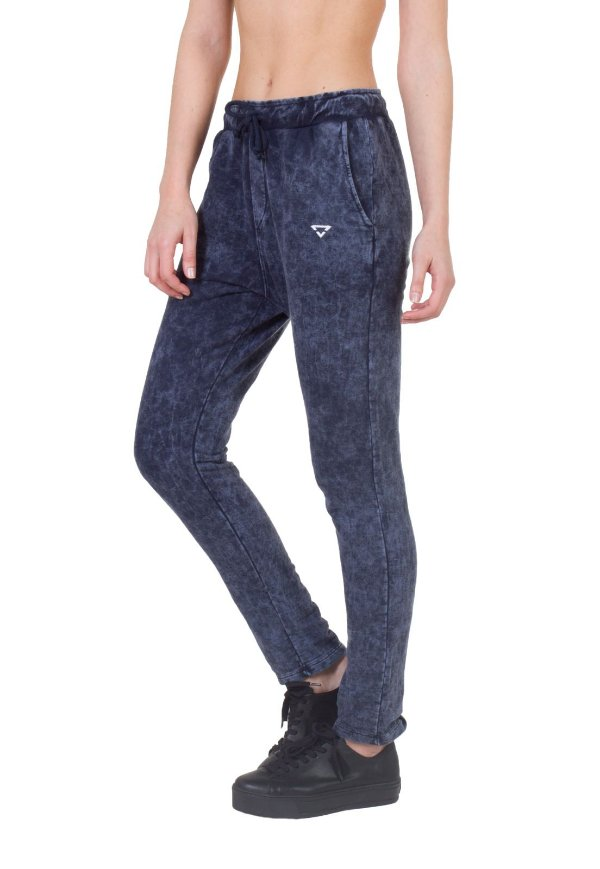 Calça Regular Fit moletom Feminina Brohood azul Jeans