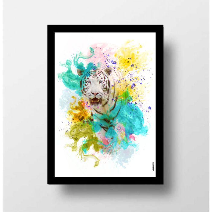 Tigre branco aquarela