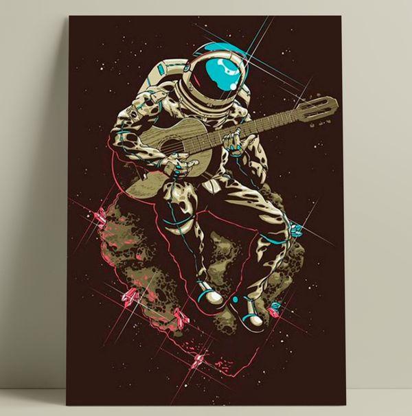 Astronauta com violão - Tela Canvas