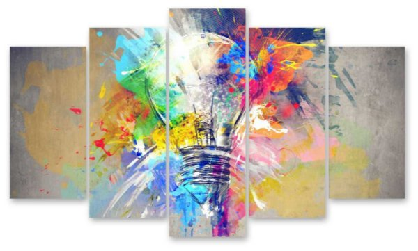 Lampada/Elefante Color Abstrato - Quadro Mosaico 5 Telas em Canvas