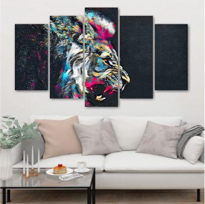 Leão Desenho Colorido - Quadro Mosaico 5 Telas em Canvas
