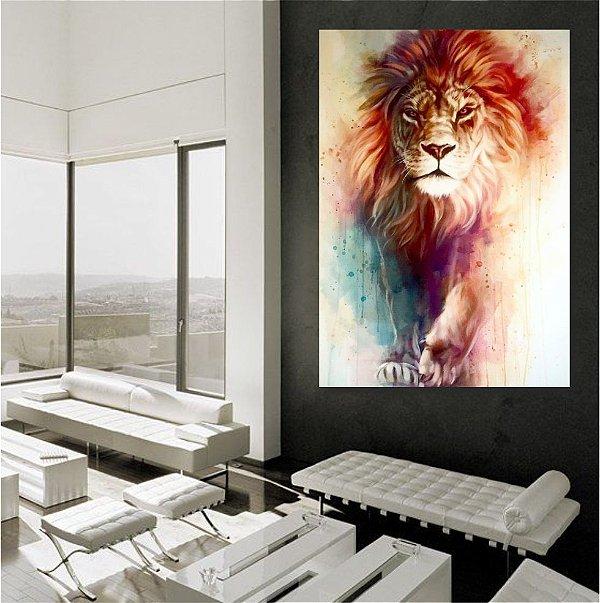 Leão de Judá Aquarela - TELA CANVAS 60x84cm