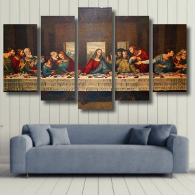 Santa Ceia - Quadro Mosaico 5 telas em Canvas