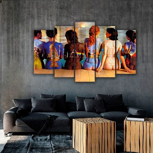 pink floyd - Quadro Mosaico 5 Telas em Canvas