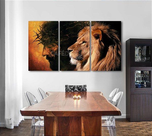 Jesus e Leão - 3 quadros Canvas