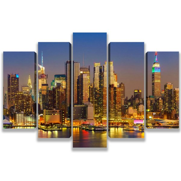 New York - Quadro Mosaico 5 Telas em Canvas