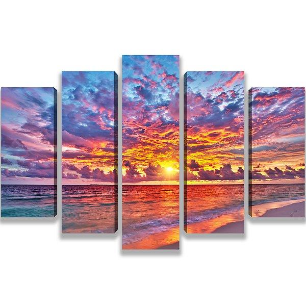 O sol se pondo - Quadro Mosaico 5 Telas em Canvas