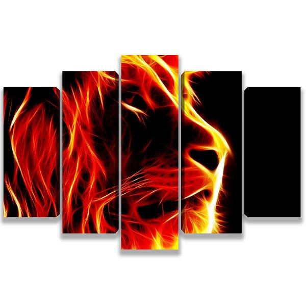 Leão vermelho - Quadro Mosaico 5 Telas em Canvas