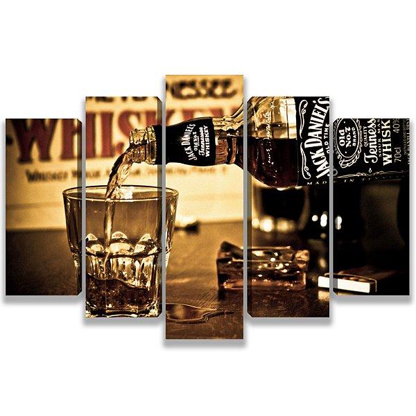 Old Jack Daniels - Quadro Mosaico 5 Telas em Canvas