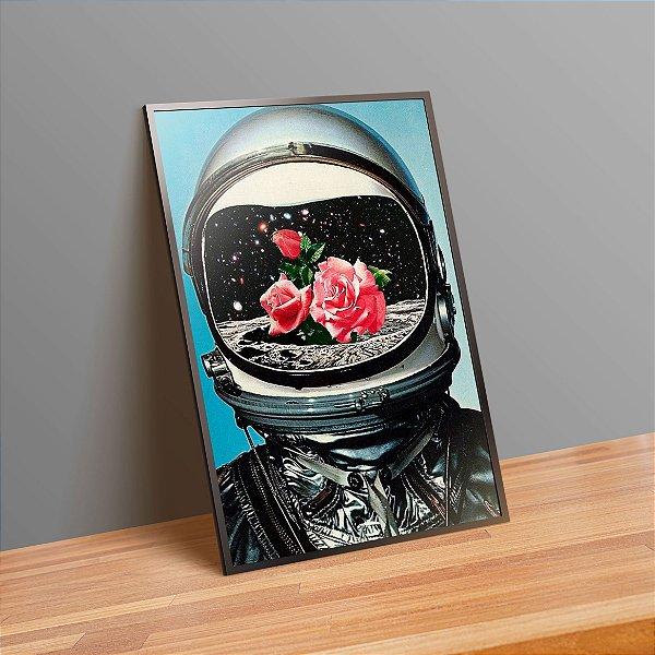 Astronauta com flores - Emoldurado