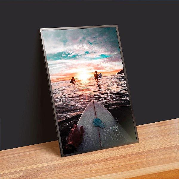 Surf ao por do sol - Emoldurado