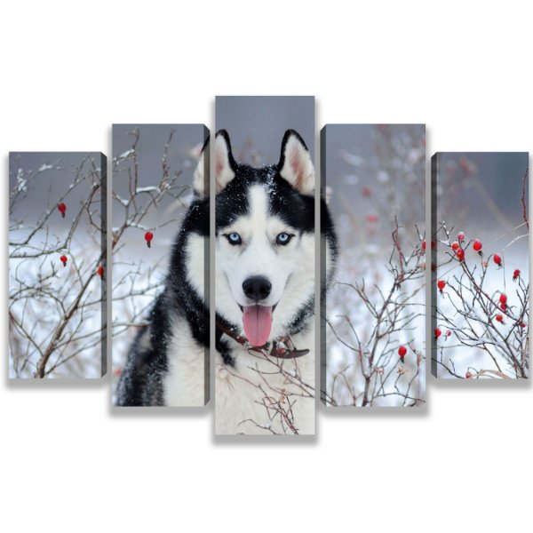 Lobo na neve - Quadro Mosaico 5 Telas em Canvas
