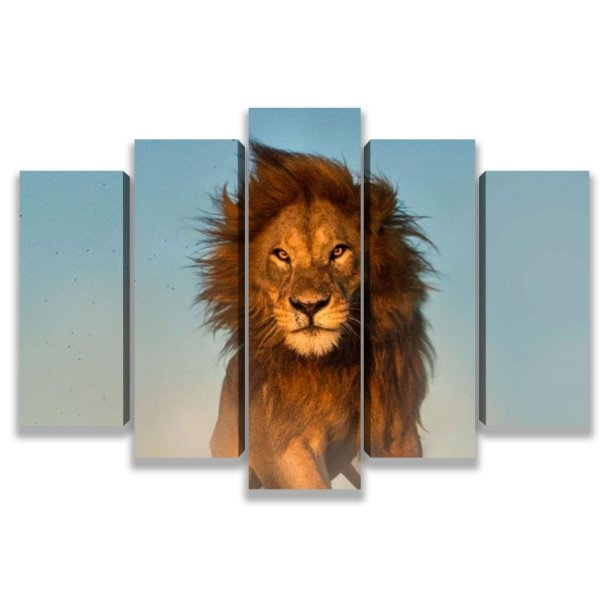Leão o rei da floresta - Quadro Mosaico 5 Telas em Canvas