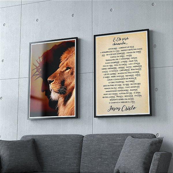 Jesus e Leão + Ele será chamado - KIT 2 QUADROS