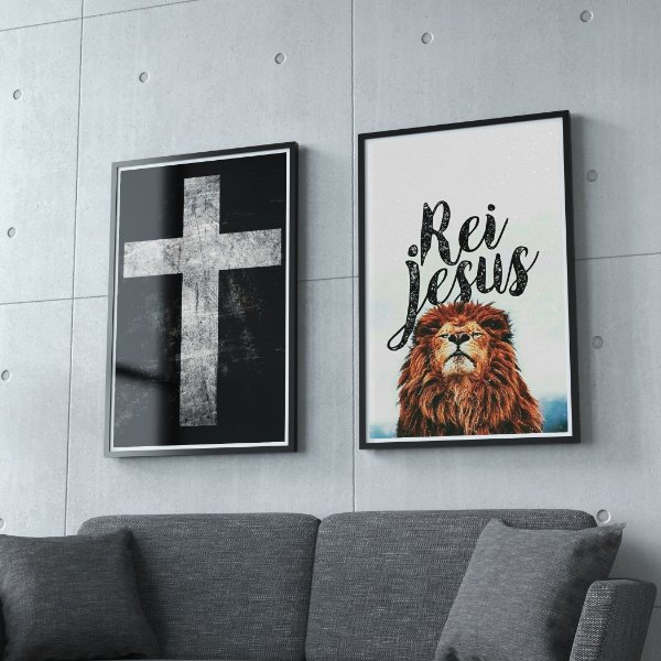 Cruz + Rei Jesus  - KIT 2 QUADROS