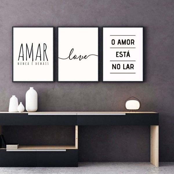 Amar nunca é demais... love...  - 3 Quadros emoldurados
