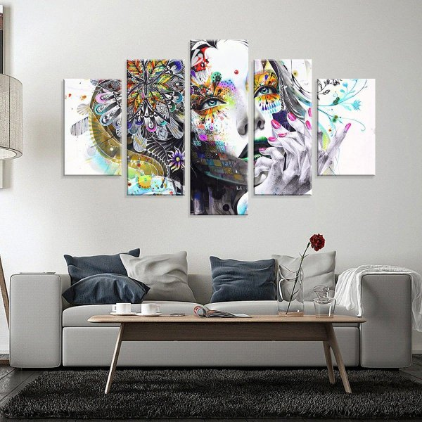 Mulher cores - 5 Telas Canvas
