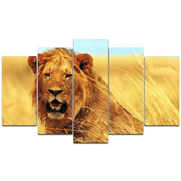 Quadro Leão  - Quadro Mosaico 5 Telas em Canvas