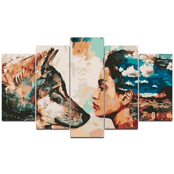 Mulher e o lobo - 5 Telas Canvas