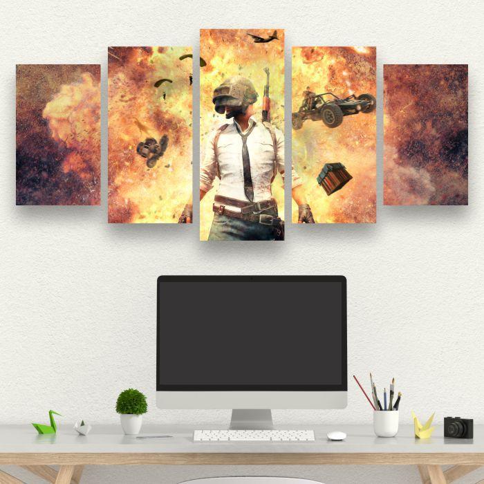 PUBG - Quadro Mosaico 5 Telas em Canvas
