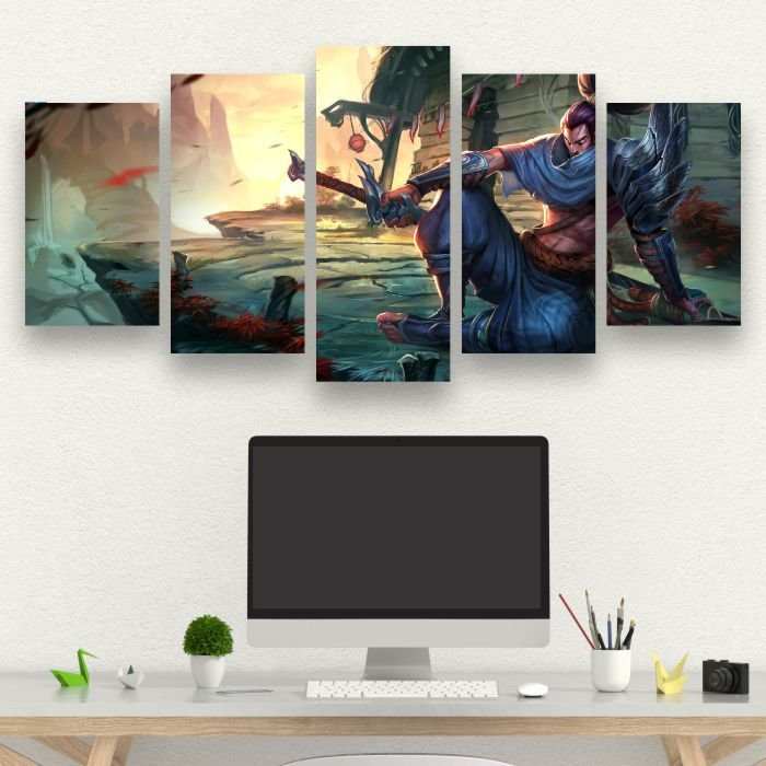 LEAGUE OF LEGENDS - Quadro Mosaico 5 Telas em Canvas