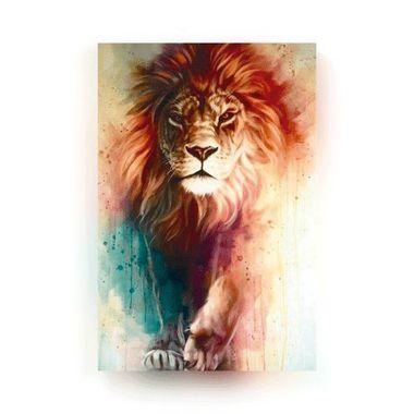 Leão Aquarela - Tela Canvas