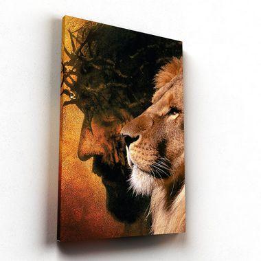 Jesus e Leão  - Tela Canvas