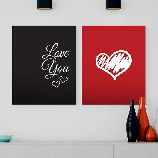Love You Vermelho e Preto - Kit 2 Quadros