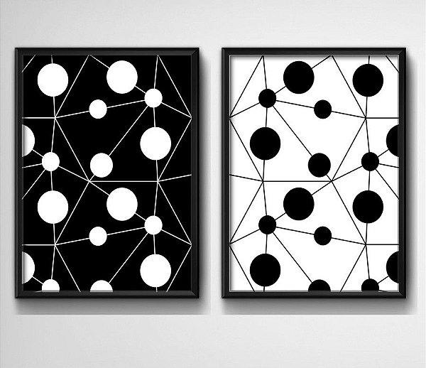Kit 2 Quados - Geométrico Preto e Branco