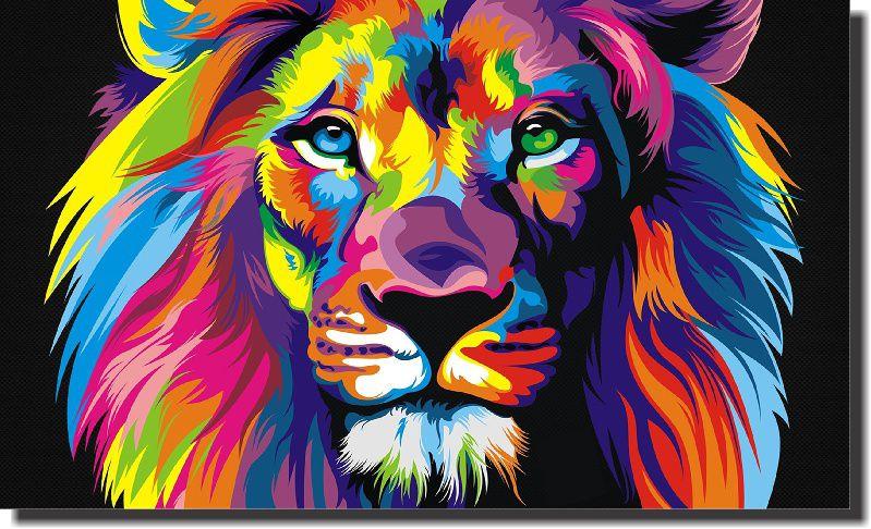 Leão colorido Moderno para Pintar - 40x50cm