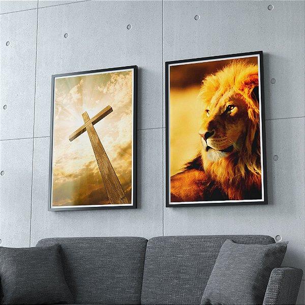 Cruz e Leão - kit 2 Quadros