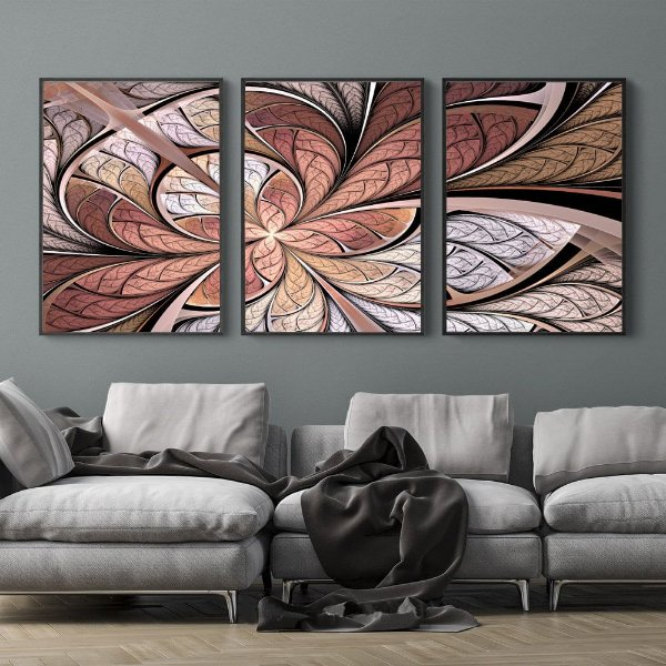 FLOR VITRAL ROSE ABSTRATO - KIT 3 TRIOS