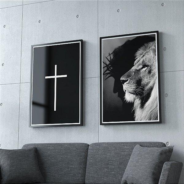 Jesus e Leão +  Cruz - kit 2 quadros