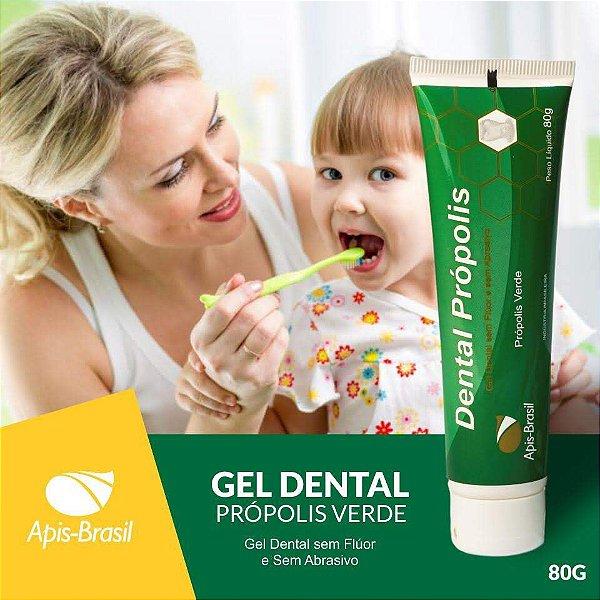 Gel Dental Própolis Verde 80g s/ flúor Apis Brasil s/ Abrasivo