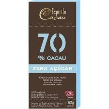 CHOCOLATE 70 ZERO ACUCAR 80G ESPIRITO CACAU