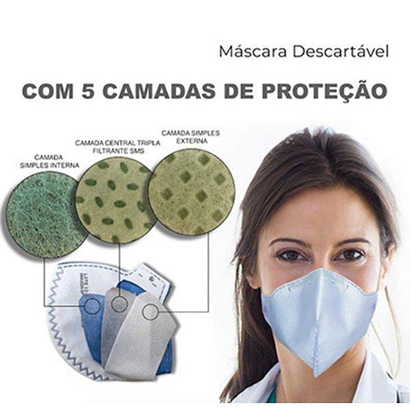 Máscara descartável - 5 camadas de proteção