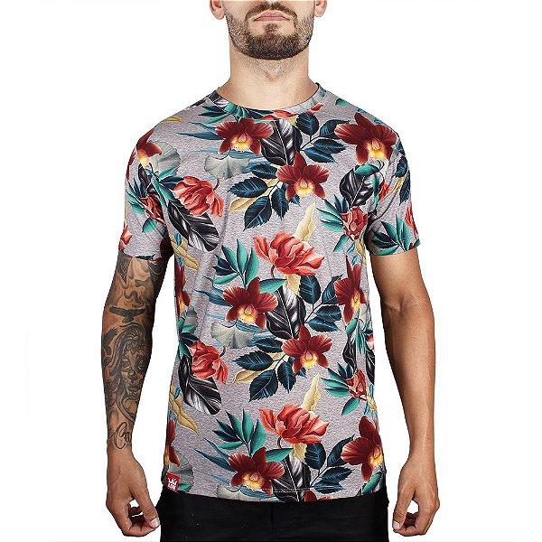 Camiseta Floral Full Print Adrenalina - Mescla Cinza
