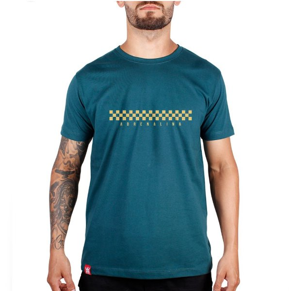 Camiseta Adrenalina Checkered - Verde Mescla