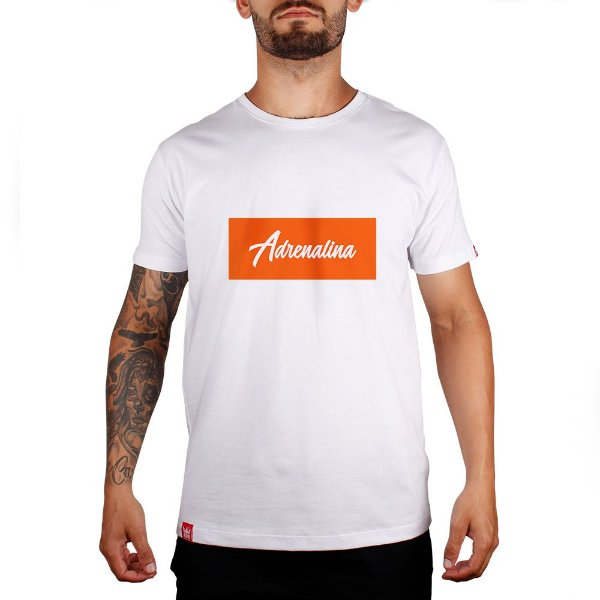 Camiseta Adrenalina  - Branco/Silk Laranja Fluor