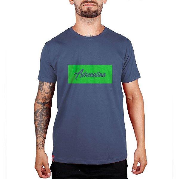 Camiseta Adrenalina  - Marinho/Silk Verde Fluor